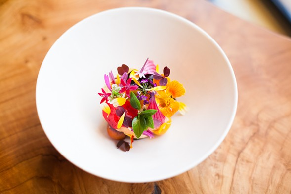 Smyth's tomato-peach sorbet with spicy flowers - DANIELLE A. SCRUGGS