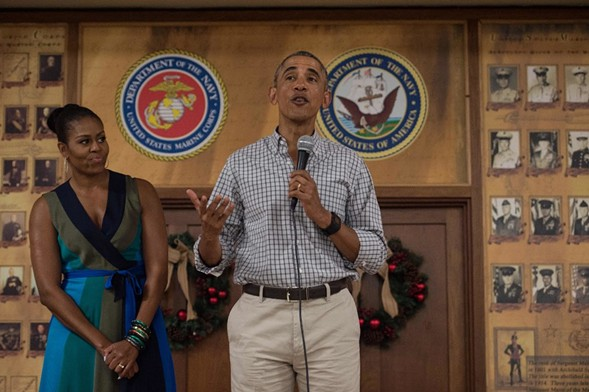 President Obama—and First Lady Michelle Obama—addressed troops at a U.S. Marine base in Hawaii over the weekend. - AFP PHOTO/NICHOLAS KAMM
