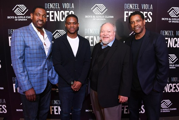 From left to right: Mykelti Williamson, Jovan Adepo, Stephen Henderson, and Denzel Washington