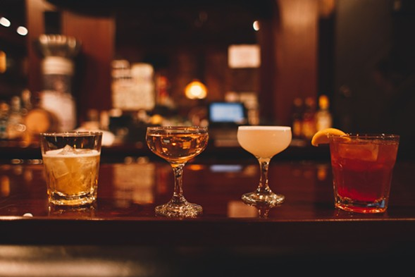 The brief cocktail menu includes the Native Negroni (second from left); the Loon (third from left), made with tequila, lemon, orange liqueur, and egg white; and a brandy old-fashioned (far right). - DANIELLE A. SCRUGGS