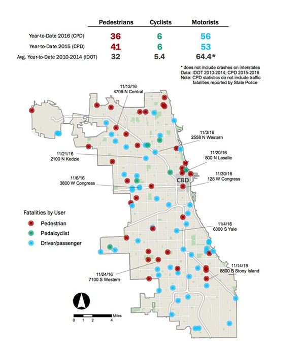 A map of 2016 Chicago traffic fatalities through November 30 - CHICAGO DEPARTMENT OF TRANSPORTATION
