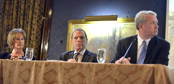From left: Illinois senate Republican leader Christine Radogno, senate president John Cullerton, and house Republican leader Jim Durkin, pictured in 2014 - MICHAEL SCHMIDT/SUN-TIMES