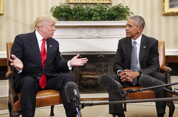 President Barack Obama meeting with president-elect Donald Trump in the Oval Office in November - AP PHOTO/PABLO MARTINEZ MONSIVAIS