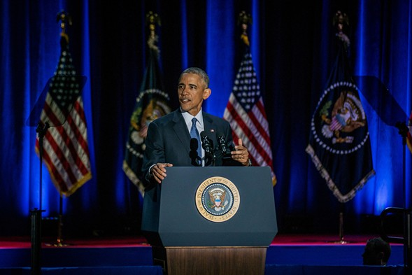 President Barack Obama during his farewell address at McCormick Place Tuesday - JOSHUA MELLIN