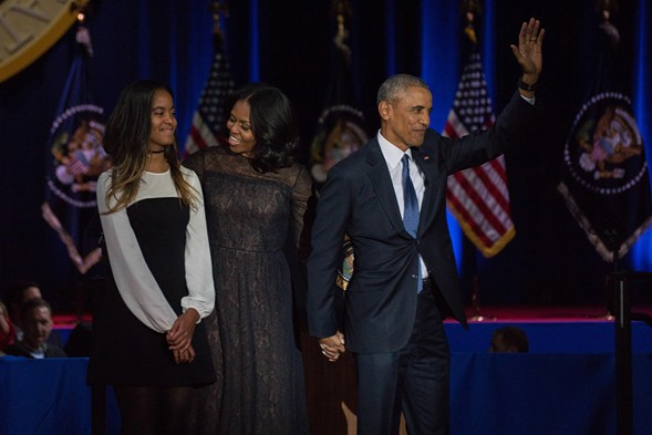 The First Family bids adieu to Chicago. - JOSHUA MELLIN