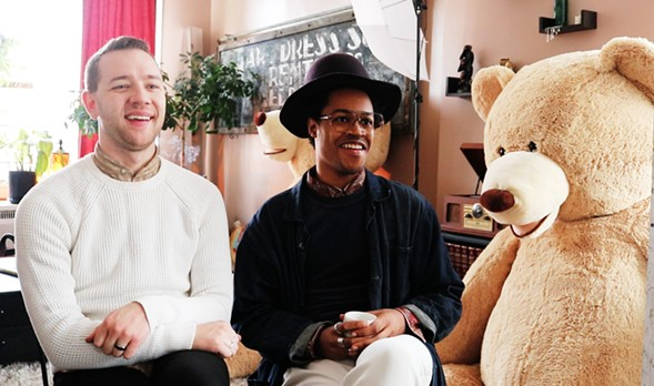VAM cofounder Jordan Phelps, artistic director Vincent Martell, and a teddy bear that is part of an upcoming dinner and dance party - MORGAN JOHNSON