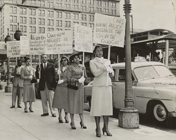 """In San Francisco, circa 1955, NAACP members urge riders to boycott Yellow Cab and help stop hiring discrimination during a """"Don't Ride"""" campaign. - COX STUDIO, SAN FRANCISCO, CA, 1955. WASHINGTON, DC, LIBRARY OF CONGRESS, PRINTS AND PHOTOGRAPHS DIVISION"""