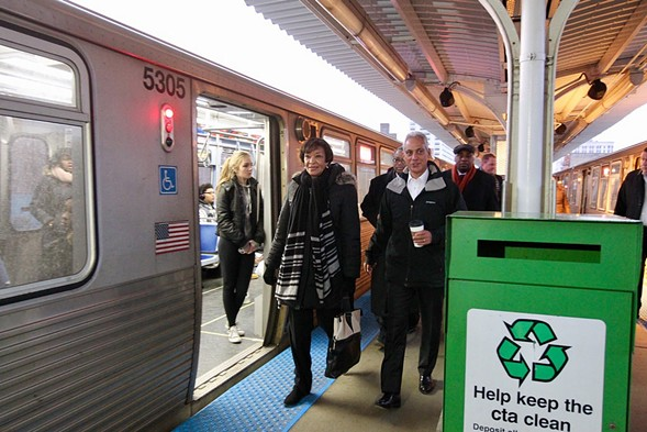 Mayor Rahm Emanuel toured the Argyle Red Line station with the Federal Transit Administration's Carolyn Flowers last week, on the day of the grant announcement. - CHICAGO MAYOR'S OFFICE