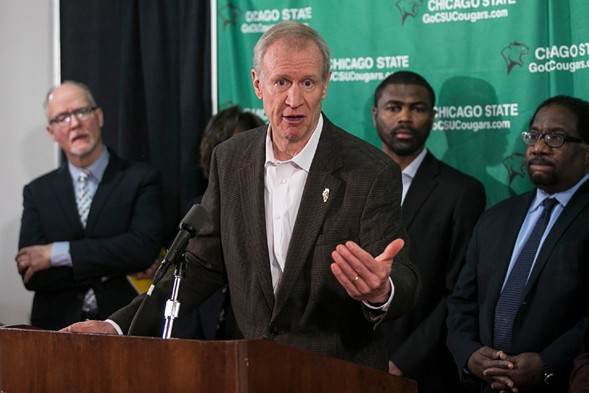 Governor Bruce Rauner discusses the overhaul of Chicago State University Tuesday. - ASHLEE REZIN/SUN-TIMES