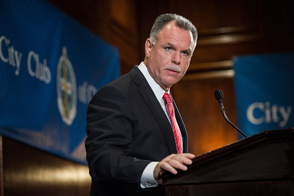 Former Chicago Police Department superintendent Garry McCarthy speaking to the City Club of Chicago last fall - SANTIAGO COVARRUBIAS/SUN-TIMES