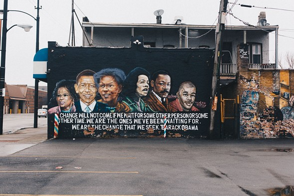 A mural at Kedzie and Van Buren in Garfield Park depicts Oprah, Barack and Michelle Obama, Coretta Scott and Martin Luther King, and filmmaker Tyler Perry.