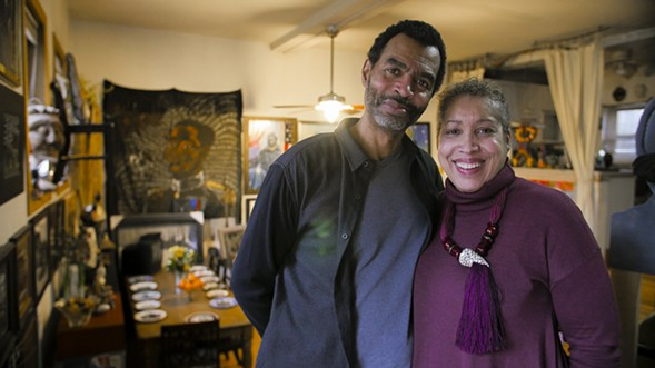 The Kenwood studio of Candace Hunter and Arthur Wright is covered floor to ceiling with the couple's artwork. - KERRI PANG