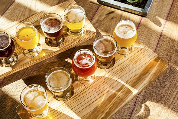 Tasting flight of all nine of the beers on draft at the Whiner taproom - NICK MURWAY
