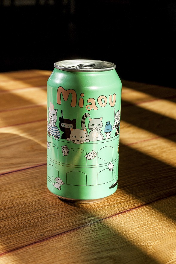 The Miaou, a Belgian-style dry-hopped wheat aged in cabernet barrels and fermented with brettanomyces, starts out grassy, earthy, and dry but develops a subtle sweetness and wine flavor as it warms up. - NICK MURWAY