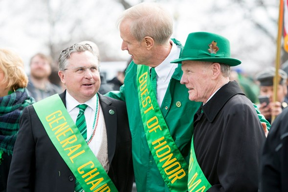Governor Bruce Rauner, center, and Illinois house speaker Michael Madigan, right, with Chicago Saint Patrick's Day Parade general chairman James F. Hoyne at last year's event - JAMES FOSTER/FOR SUN-TIMES MEDIA