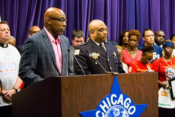 Illinois state senator Kwame Raoul and police superintendent Eddie T. Johnson proposed a bill aiming to keep repeat gun offenders accountable for their crimes. - SUN-TIMES MEDIA