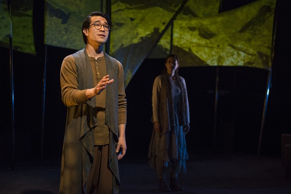 Scott Shimizu and Jennifer Cheung in Griffin Theatre Company's In to America - MICHAEL BROSILOW
