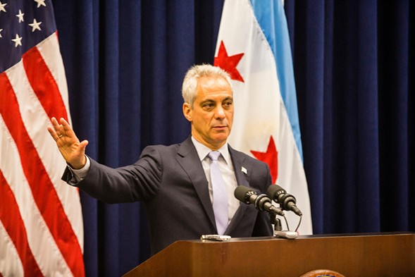 Mayor Rahm Emanuel speaks about the municipal ID proposal during the Chicago City Council meeting Wednesday. - JAMES FOSTER/FOR THE SUN-TIMES