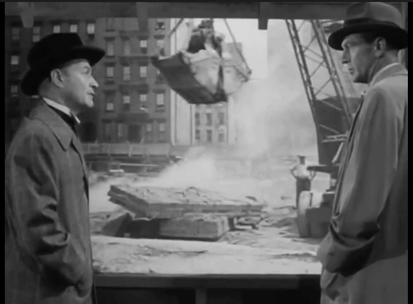 The fictional Ellsworth Toohey, left, and Howard Roark, right, in the 1949 film adaptation of The Fountainhead.