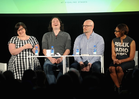Linda Holmes, Stephen Thompson, Glen Weldon, and Audie Cornish at a live performance of Pop Culture Happy Hour in New York City, - GETTY IMAGES FOR VULTURE FESTIVA