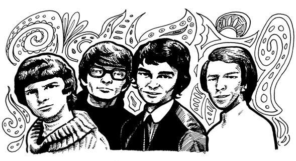 The four surviving original Zombies, drawn as they appeared in the late 60s: Rod Argent, Chris White, Colin Blunstone, and Hugh Grundy - ILLUSTRATION BY STEVE KRAKOW