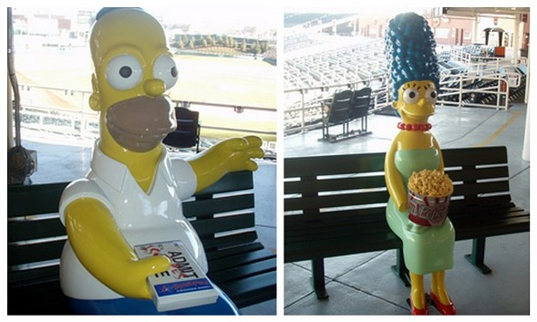 Homer and Marge at Isotopes Field in Albuquerque - COURTESY ALBUQUERQUE ISOTOPES