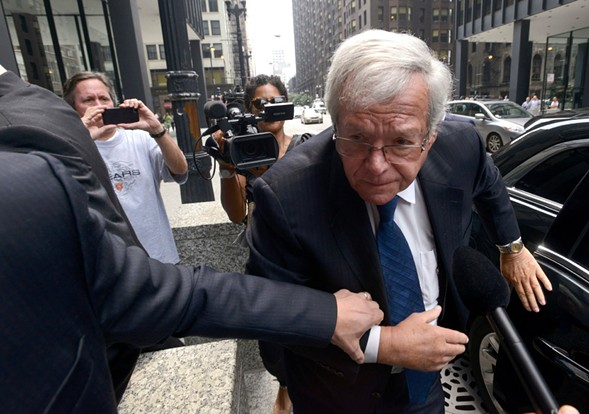 Former U.S. House Speaker Dennis Hastert arrives at the federal courthouse in 2015 for his arraignment on charges that he broke federal banking laws and lied about it when questioned by the FBI. - AP PHOTO/PAUL BEATY