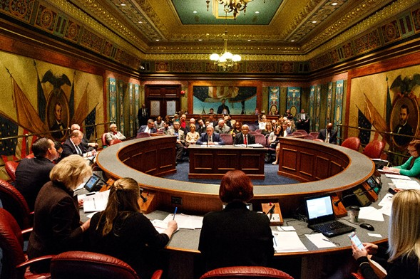 The Illinois Senate Appropriations Committee questions various state department heads about their fiscal year 2018 budget requests. - RICH SAAL/THE STATE JOURNAL-REGISTER VIA AP