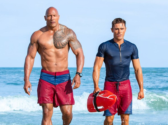 Dwayne Johnson and Efron in Baywatch