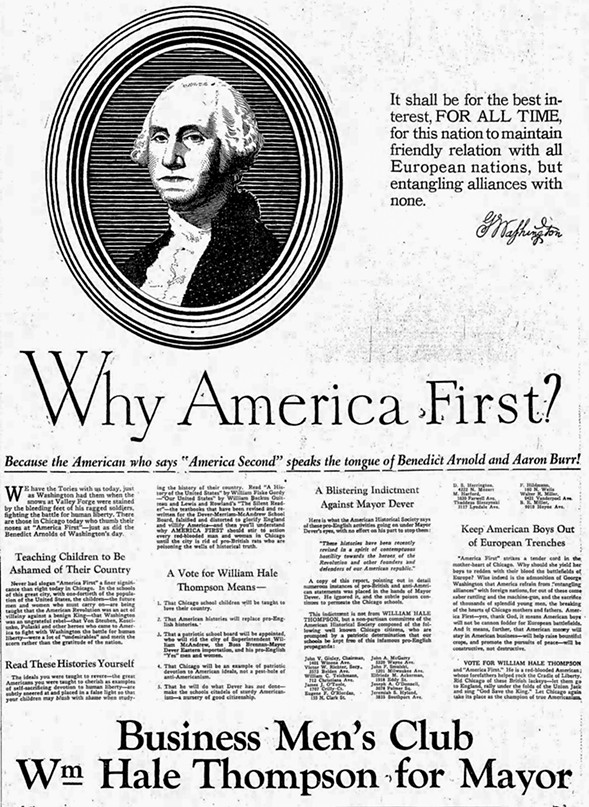 """In a 1927 campaign ad, Big Bill Thompson decried how Chicago schoolchildren were taught that George III was a """"benign king"""" and that George Washington was """"an ungrateful rebel."""" - (CHICAGO DAILY NEWS)"""