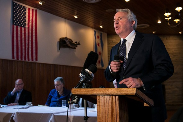 Illinois gubernatorial candidate Chris Kennedy speaks before the Cook County Democratic Party in March. - ASHLEE REZIN/SUN-TIMES