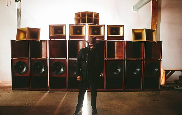 Impala Sound Champions cofounder Dave Mata with the Royal Hands Sound System that was custom built for the defunct collective - COURTESY THE ARTIST