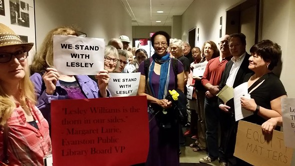 Lesley Williams, with supporters, before her termination hearing on June 2 - MICHAEL DEHEEGER