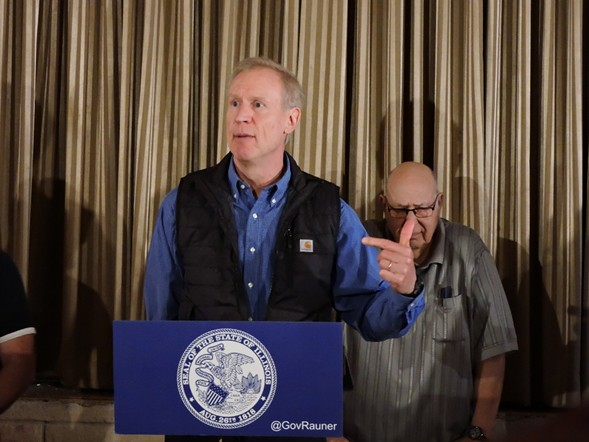 Governor Bruce Rauner at a round table with Hegewisch business community leaders earlier this month - BRIAN JACKSON/FOR THE SUN-TIMES