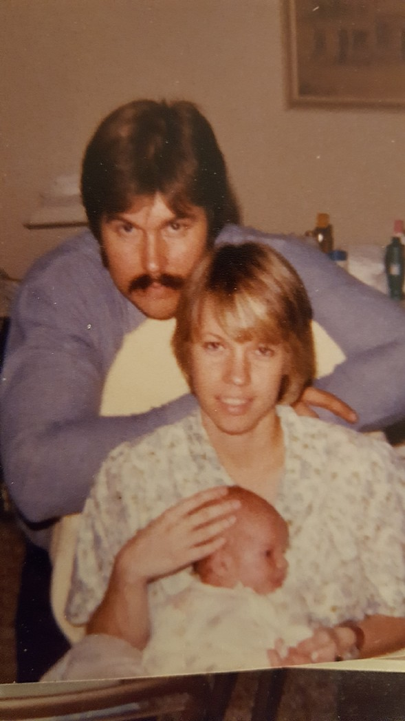 As a baby with my parents, Mark and Jan Smith, in 1977