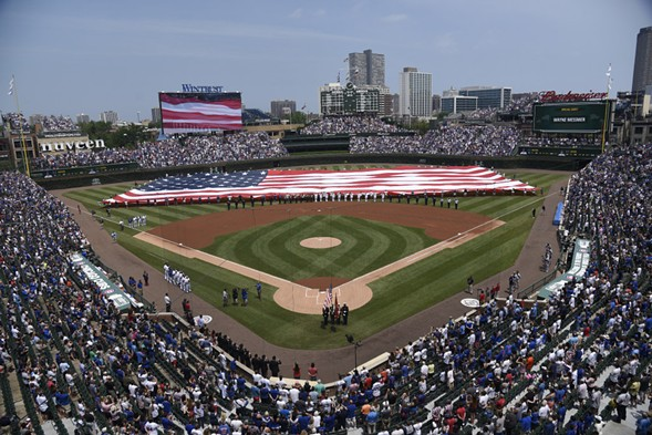A view of Wrigley Field during the national anthem on the Fourth of July - PHOTO BY DAVID BANKS/GETTY IMAGES