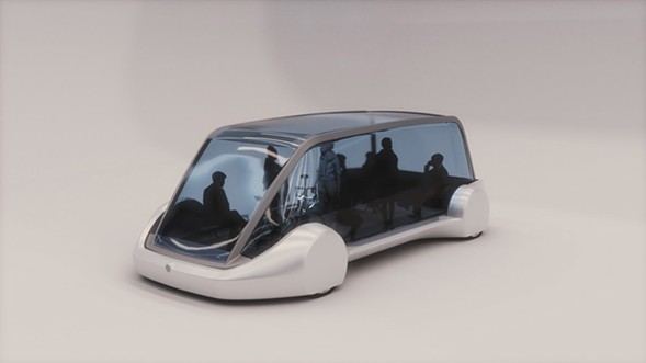 "Model of an ""electric sled""; Elon Musk has said such sleds could shuttle passengers at 125 mph through a tube to the airport. - THE BORING COMPANY"