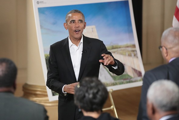 Barack Obama at the South Shore Cultural Center in May hosting a roundtable discussion about the Obama Presidential Center. - SCOTT OLSEN/GETTY IMAGES