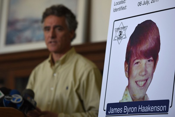 Cook County sheriff Tom Dart  announces the identity of James Byron Haakenson as one of the victims of serial killer John Wayne Gacy. - AP PHOTO/G-JUN YAM