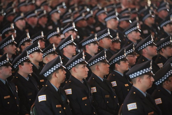 Chicago police officers at a graduation and promotion ceremony in June 2017 - SCOTT OLSON/GETTY IMAGES