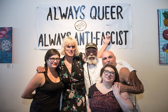 Left to right: Mariam Bastani, Jill Flanagan (who performs as Forced Into Femininity), Travis, Jes Skolnik, and Martin Sorrondeguy - ERIC STROM / GLITTERGUTS