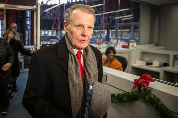 Illinois house speaker Michael Madigan, who keeps a low profile, caught at the Thompson Center in December - RICH HEIN/SUN-TIMES