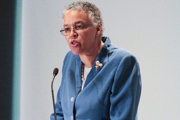Cook County Board president Toni Preckwinkle speaks in April. - MARIA CARDONA/ SUN-TIMES