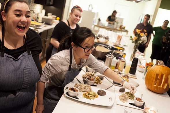 Amy Lecza (left) and Kelly Ijichi at Hungry as F*ck's first pop-up dinner