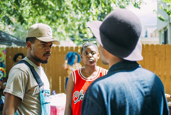 "Chance the Rapper, Samantha Bailey, and Vincent Martell on the set of the ""LSD"" video - GREG STEPHEN REIGH / VAM"