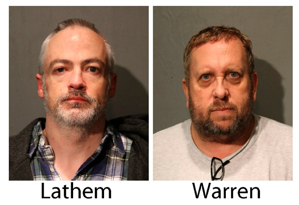 These booking photos provided by the Chicago Police Department show Wyndham Lathem, left, and Andrew Warren on Saturday, Aug. 19, 2017. - CHICAGO POLICE DEPARTMENT VIA AP