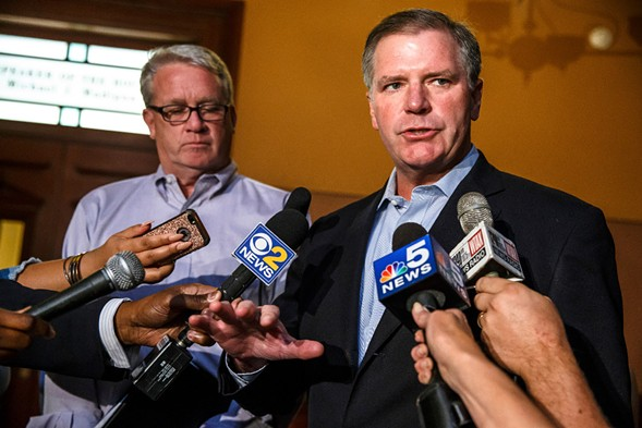 Illinois senate minority leader Bill Brady (right) and Illinois house minority leader Jim Durkin address the media after arriving for a leaders' meeting about education funding at the state capitol Sunday. - JUSTIN L. FOWLER/THE STATE JOURNAL-REGISTER VIA AP