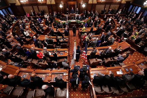 Legislators gather in the Illinois senate. - AP PHOTO/SETH PERLMAN FILE