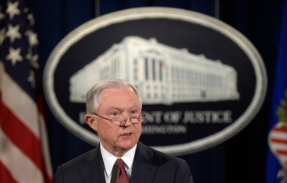 Attorney General Jeff Sessions issuing a Justice Department statement on September 5 - AP PHOTO/SUSAN WALSH