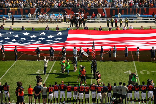 The Pittsburgh Steelers remained in the locker room for the national anthem before Sunday's game against the Chicago Bears at Soldier Field. - AP PHOTO/KIICHIRO SATO